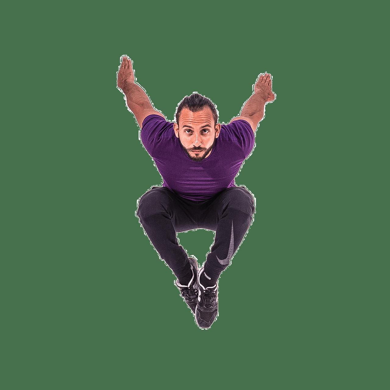 Kevin hero image jumping at camera